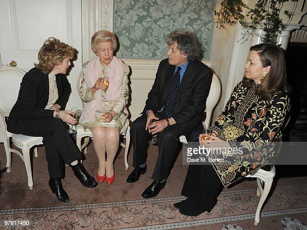 Patricia Hodge, Dowager Duchess of Devonshire, Tom Stoppard and Charlotte Mosley attend the Nancy Mitford 'Wigs on the Green' reissue party held by...