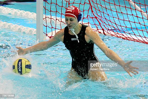 Patricia Horvath of Hungary makes a save in the Women's Preliminary Round Group D Water Polo match between Hungary and Cuba at the Melbourne Sports...