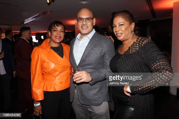 Patricia James Tony Martinez and Adrienne Lopez attend the Walter Powell Politiscope Party at Hotel on Rivington on January 19 2019 in New York City