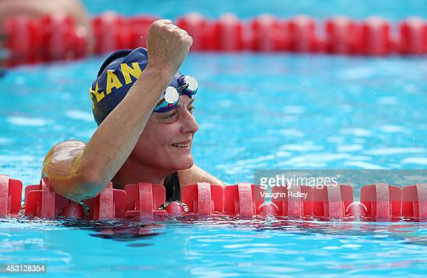 Patricia Kamm of Switzerland competes in the Women's 800m Freestyle at Parc JeanDrapeau during the 15th FINA World Masters Championships on August 03...