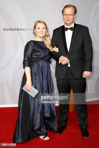 Patricia Kelly and Denis Sawinkin attend the Rosenball charity event at Hotel Intercontinental on May 5 2018 in Berlin Germany