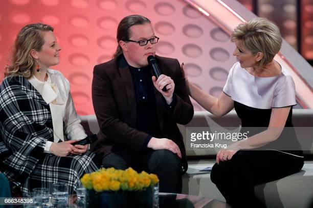 Patricia Kelly Angelo Kelly and Carmen Nebel during the television show 'Willkommen bei Carmen Nebel' on April 8 2017 in Magdeburg Germany