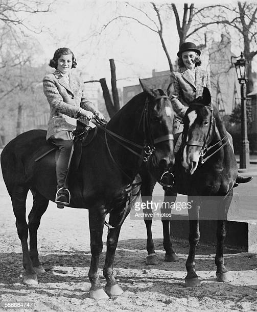 Patricia Kennedy later Patricia Kennedy Lawford and Kathleen Kennedy later Kathleen Cavendish Marchioness of Hartington riding in Rotten Row Hyde...