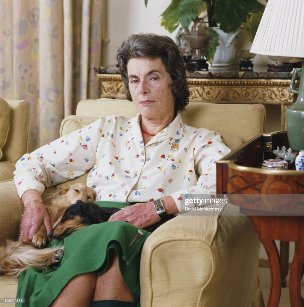 Patricia Knatchbull, 2nd Countess Mountbatten of Burma, with two pet dogs, July 1984. She is the elder daughter of Louis Mountbatten.