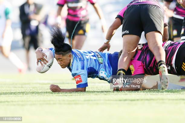 Patricia Maliepo of the Blues Women scores a try during the Women's match between the Blues and the Chiefs at Eden Park, on May 01 in Auckland, New...