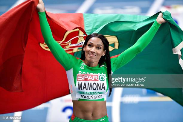 Patricia Mamona of Portugal celebrates during the second session on Day 3 of European Athletics Indoor Championships at Arena Torun on March 07, 2021...