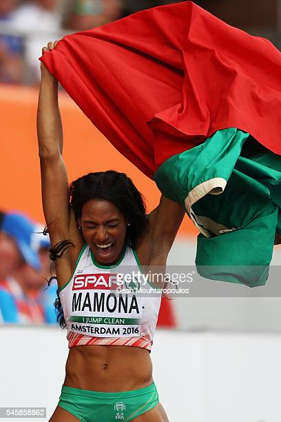 Patricia Mamona of Portugal celebrates winning gold in the final of the womens triple jump on day five of The 23rd European Athletics Championships...