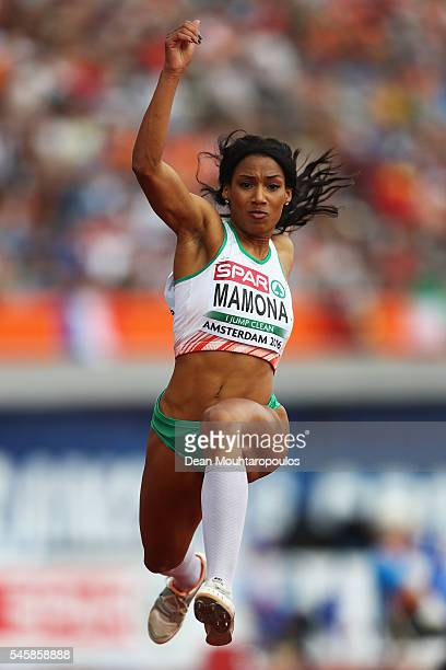 Patricia Mamona of Portugal in action during the final of the womens triple jump on day five of The 23rd European Athletics Championships at Olympic...