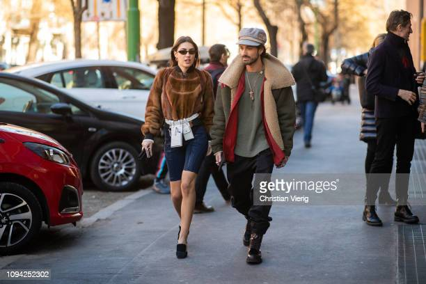 Patricia Manfield and Giotto Calendoli seen outside Fendi during Milan Menswear Fashion Week Autumn/Winter 2019/20 on January 14 2019 in Milan Italy