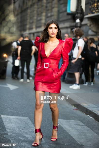 Patricia Manfield in a red Alexandre Vauthier dress during the Couture Fall 2018 shows on July 3 2018 in Paris France