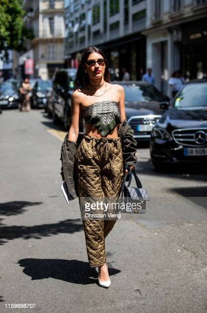 Patricia Manfield is seen outside Dior during Paris Fashion Week Haute Couture Fall/Winter 2019/2020 on July 01 2019 in Paris France