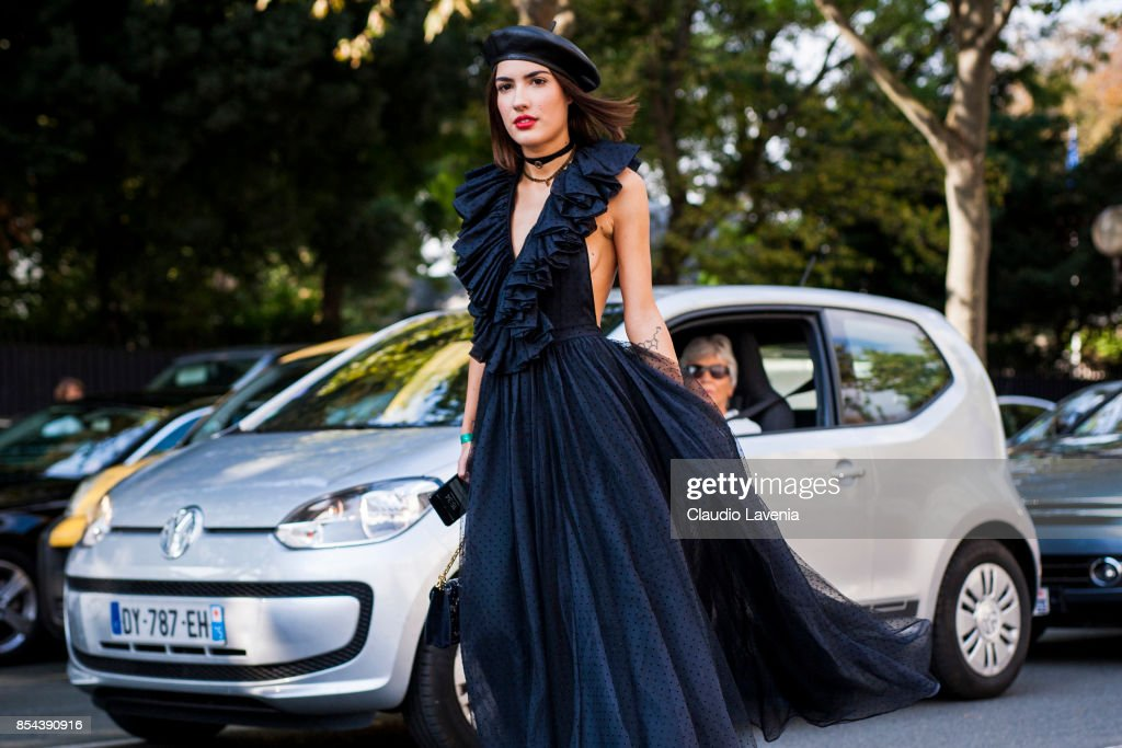 Patricia Manfield is seen wearing Dior after the Dior show at the Musee Rodin during Paris Fashion Week Womenswear SS18 on September 26, 2017 in Paris, France.