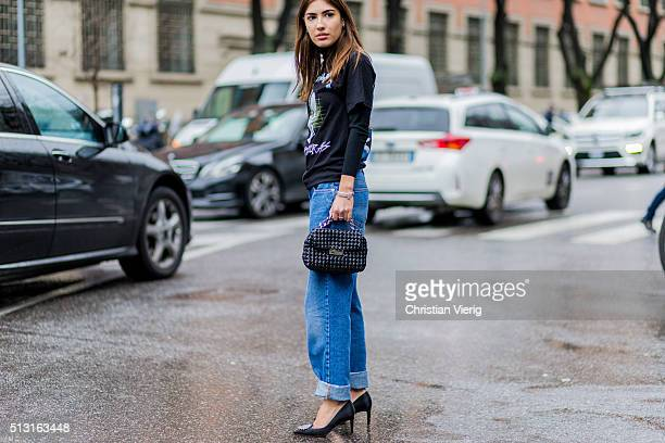 Patricia Manfield wearing a black shirt and blue denim jeans seen outside Giorgio Armani during Milan Fashion Week Fall/Winter 2016/17 on February 29...
