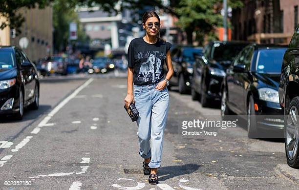 Patricia Manfield wearing a black tshirt and denim jeans outside Tibi on September 10 2016 in New York City
