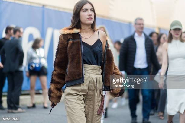 Patricia Manfield wearing a fur jacket seen in the streets of Manhattan outside Coach during New York Fashion Week on September 12 2017 in New York...