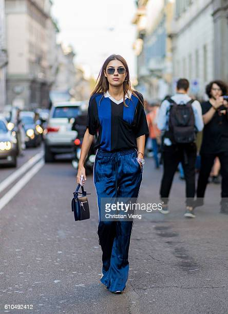 Patricia Manfield wearing navy tshirt and jogger sweatpants outside Trussardi during Milan Fashion Week Spring/Summer 2017 on September 25 2016 in...