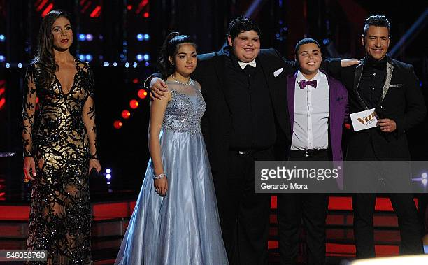 Patricia Manterola Alejandra Gallardo Christopher Rivera Axel Cabrera and Jorge Bernal smile during Telemundo 'La Voz Kids' Finale at Universal...