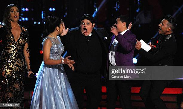 Patricia Manterola Alejandra Gallardo Christopher Rivera Axel Cabrera and Jorge Bernal react during Telemundo 'La Voz Kids' Finale at Universal...