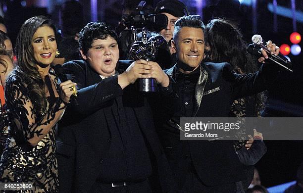 Patricia Manterola La Voz Kids winner Christopher Rivera and Jorge Bernal react during Telemundo La Voz Kids Finale at Universal Orlando on July 9...