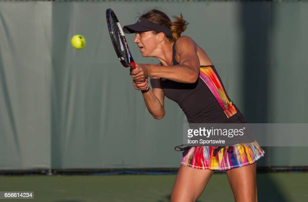 Patricia Maria Tig during the qualifying round of the 2017 Miami Open on March 20 at Tennis Center at Crandon Park in Key Biscayne FL