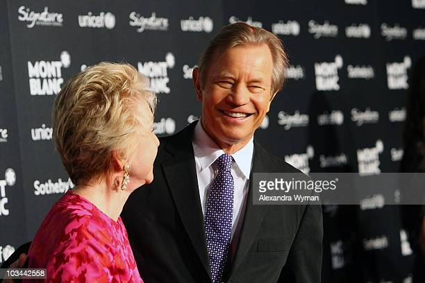 Patricia McCallum and Michael York arrive at the Montblanc celebrity auction and dinner benefiting UNICEF at Four Seasons Hotel on September 17 2009...