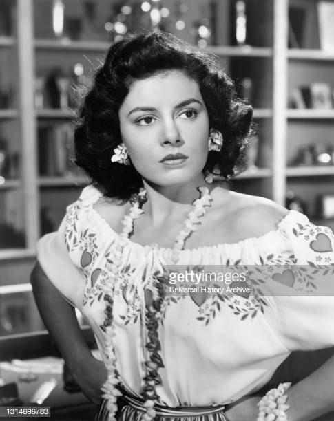 """Patricia Michon, Half-length Publicity Portrait for the Short Subject Comedy Film, """"Punchy Pancho"""", RKO Radio Pictures, 1951."""
