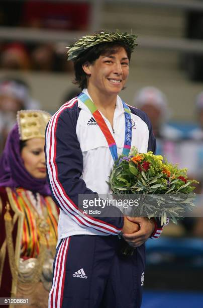 Patricia Miranda of the USA, Bronze Medalist in the women's Freestyle wrestling 48 kg event on August 23, 2004 during the Athens 2004 Summer Olympic...