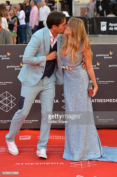 Patricia Montero and Alex Adrover attend Nuestros Amantes premiere at the Cervantes Teather during the 19th Malaga Film Festival on April 30 2016 in...