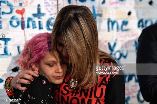 Patricia Oliver whose son Joaquin Oliver was a Stoneman Douglas High School shooting victim hugs her son's girlfriend Victoria Gonzalez after she...
