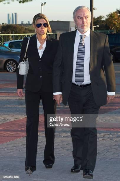 Patricia Olmedilla and Gonzalo de la Cierva attend a funeral chapel for Alicia de Borbon Parma Duchess of Calabria at La Paz morgue on March 28 2017...