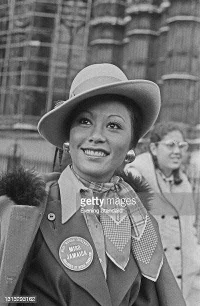 Patricia or Patsy Yuen, Miss Jamaica, in London for the 1973 Miss World beauty pageant, UK, November 1973. She finished in third place in the pageant.