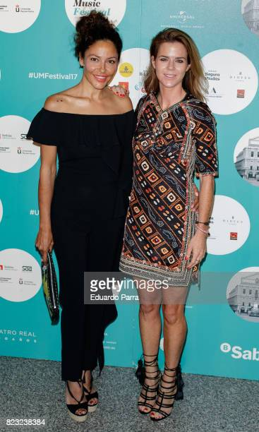 Patricia Perez and Amelia Bono attend the David Bisbal concert photocall at Royal Theatre on July 26 2017 in Madrid Spain