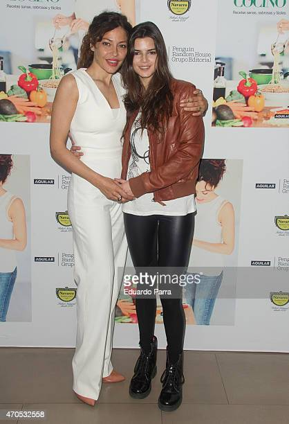 Patricia Perez and Clara Lago attend Patricia Perez's new book 'Yo si que cocino' press conference at Navarro herbalist on April 21 2015 in Madrid...