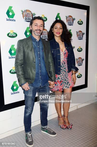 Patricia Perez and Luis Canut present the Tv program 'Los Hygge una pareja muy natural' on April 18 2017 in Madrid Spain