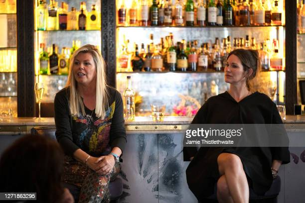 """Patricia Potter and Jacquie Lawrence on the Cast and Crew panel during the """"Henpire"""" podcast launch event at Langham Hotel on September 10, 2020 in..."""