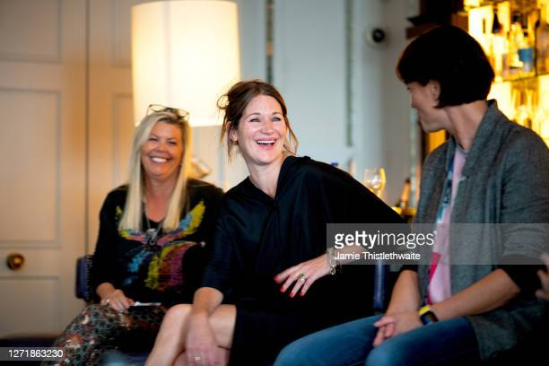 """Patricia Potter, Heather Peace and Jacquie Lawrence on the Cast and Crew panel during the """"Henpire"""" podcast launch event at Langham Hotel on..."""