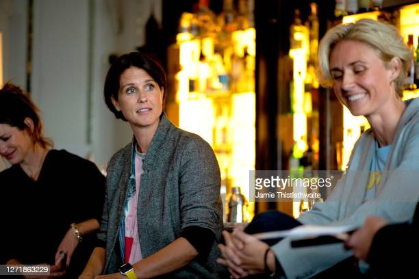 """Patricia Potter, Heather Peace and Samantha Grierson on the Cast and Crew panel during the """"Henpire"""" podcast launch event at Langham Hotel on..."""