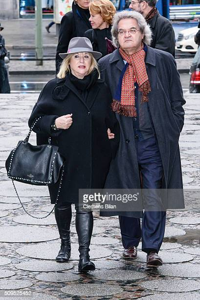 Patricia Riekel and Helmut Markwort attend the Wolfgang Rademann memorial service on February 11 2016 in Berlin Germany