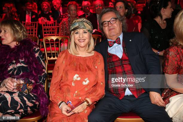 Patricia Riekel and her partner Helmut Markwort during Michael Kaefer's 60th birthday celebration at Postpalast on February 2 2018 in Munich Germany