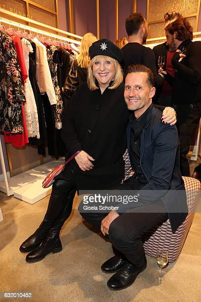 Patricia Riekel and Marco Stein during the Talbot Runhof boutique opening at Schlueterstrasse on January 18 2017 in Berlin Germany