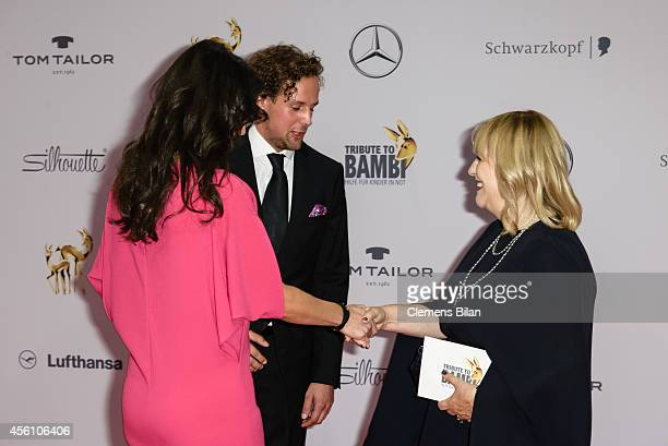 Patricia Riekel and Mariella Ahrens and Marc Sebastian Esser attend the Tribute To Bambi 2014 at Station on September 25 2014 in Berlin Germany