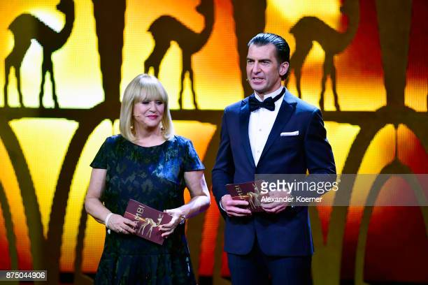 Patricia Riekel and Philipp Welte on stage during the Bambi Awards 2017 show at Stage Theater on November 16 2017 in Berlin Germany