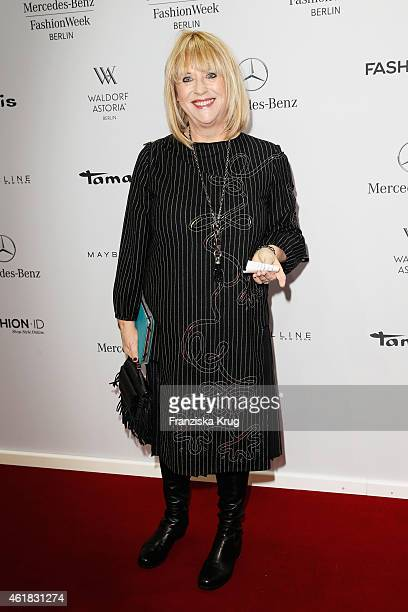 Patricia Riekel attends the Marc Cain show during the MercedesBenz Fashion Week Berlin Autumn/Winter 2015/16 at Brandenburg Gate on January 20 2015...