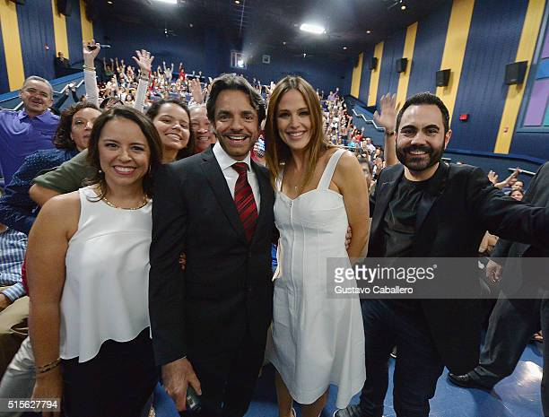 Patricia Riggen Eugenio Derbez Jennifer Garner and Enrique Santos attend the Miracles From Heaven Miami Red Carpet at Regal South Beach on March 14...