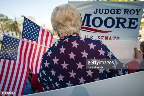Patricia Riley Jones attends a 'Women For Moore' rally in support of Republican candidate for US Senate Judge Roy Moore in front of the Alabama State...