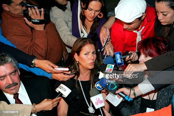 Patricia Rivera speaks at the press conference and show case of Rodrigo Fernandez to submit their recorded material Heridas de Amor on October 20...