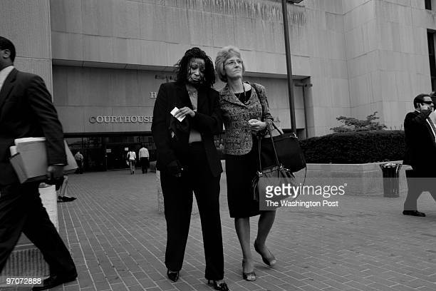 WASHINGTON DC Patricia Scales left leaves the H Carl Moultrie I Courthouse of the District of Columbia with Marcey Rinker victim advocate for the US...