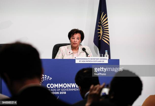 Patricia Scotland Commonwealth Secretary General during the press conference in Marlborough House Commonwealth Heads of Government Meeting in London...