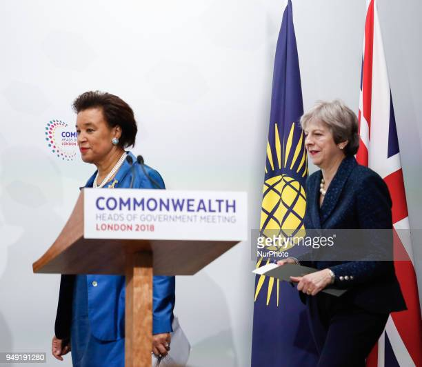Patricia Scotland Secretary General of the Commonwealth and Theresa May Prime Minister of the United Kingdom arrive to the final press conference...
