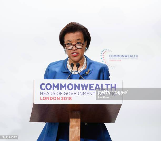 Patricia Scotland Secretary General of the Commonwealth gives hes final remarks at the final press conference during the Commonwealth Heads of...
